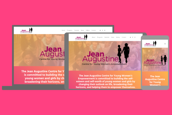 Screenshot of the Jean Augustine Centre's website, a freelance project by Rhineland Co., Hamilton web design studio